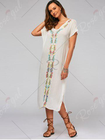 Affordable Leaf Embroidery Batwing Sleeve Split Straight Dress - M WHITE Mobile