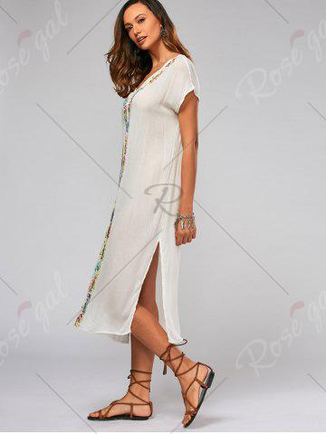Fancy Leaf Embroidery Batwing Sleeve Split Straight Dress - M WHITE Mobile