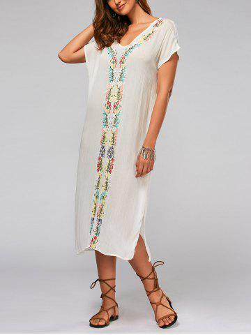 Fashion Leaf Embroidery Batwing Sleeve Split Straight Dress - L WHITE Mobile