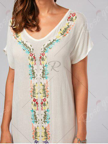 Discount Leaf Embroidery Batwing Sleeve Split Straight Dress - L WHITE Mobile