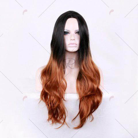 Fashion Long Center Parting Layered Wavy Ombre Synthetic Wig - COLORMIX  Mobile
