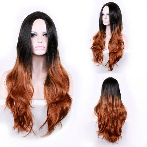 Fancy Long Center Parting Layered Wavy Ombre Synthetic Wig - COLORMIX  Mobile