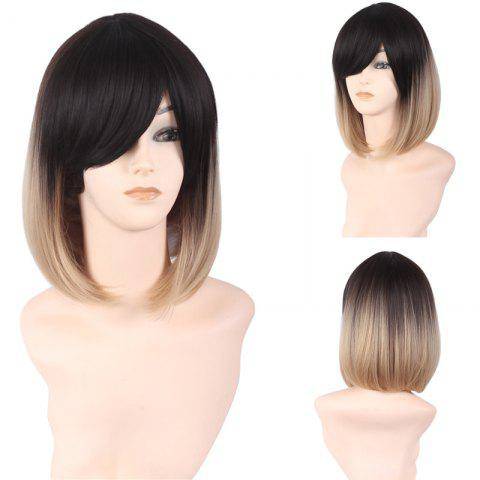 Sale Short Side Bang Ombre Straight Bob Synthetic Wig - COLORMIX  Mobile