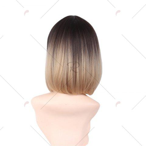 Affordable Short Side Bang Ombre Straight Bob Synthetic Wig - COLORMIX  Mobile