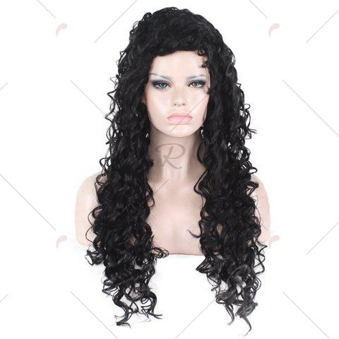 Best Long Fluffy Afro Little Curly Synthetic Wig - BLACK  Mobile