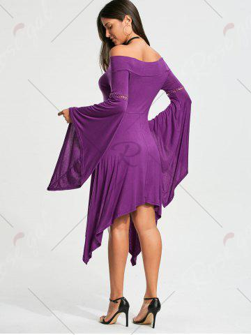 Fashion Off The Shoulder Long Sleeve Handkerchief Dress - S PURPLE Mobile