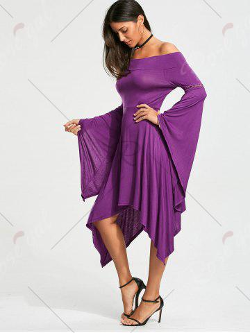 Hot Off The Shoulder Long Sleeve Handkerchief Dress - S PURPLE Mobile