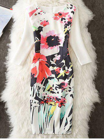 Best Flower Printed Knee Length Sheath Dress - M WHITE Mobile