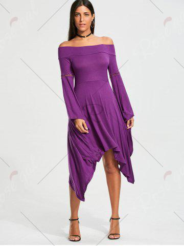New Off The Shoulder Long Sleeve Handkerchief Dress - S PURPLE Mobile