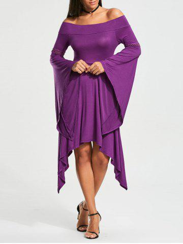 Hot Off The Shoulder Long Sleeve Handkerchief Dress - M PURPLE Mobile