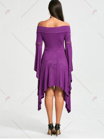 Outfits Off The Shoulder Long Sleeve Handkerchief Dress - L PURPLE Mobile
