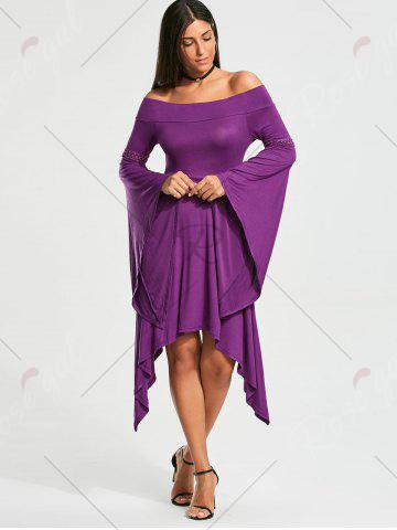 Affordable Off The Shoulder Long Sleeve Handkerchief Dress - 2XL PURPLE Mobile