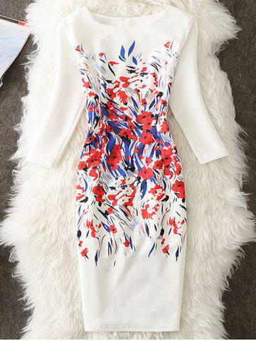 Discount Sheath Printed Knee Length Dress - M WHITE Mobile