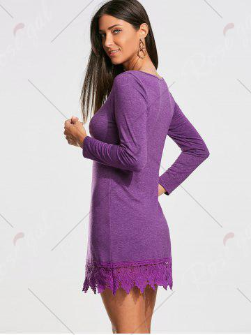 Fancy Lace Trim Long Sleeve Mini T-shirt Dress - XL PURPLE Mobile