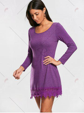 Outfits Lace Trim Long Sleeve Mini T-shirt Dress - XL PURPLE Mobile