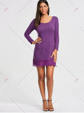 Shops Lace Trim Long Sleeve Mini T-shirt Dress - XL PURPLE Mobile