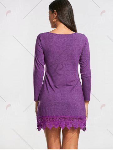 Fashion Lace Trim Long Sleeve Mini T-shirt Dress - XL PURPLE Mobile