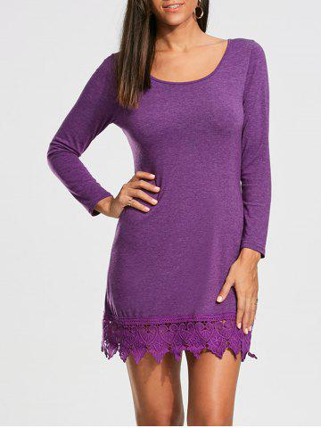 Discount Lace Trim Long Sleeve Mini T-shirt Dress - XL PURPLE Mobile