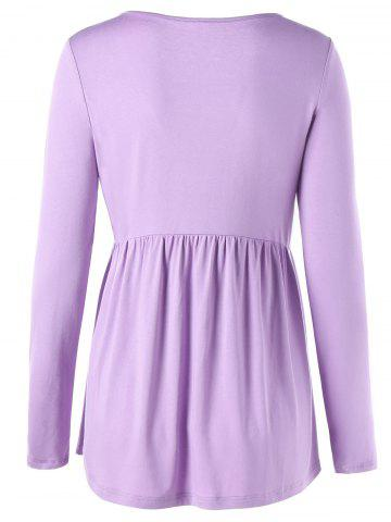 Store Lace Up V Neck Tee - M LIGHT PURPLE Mobile