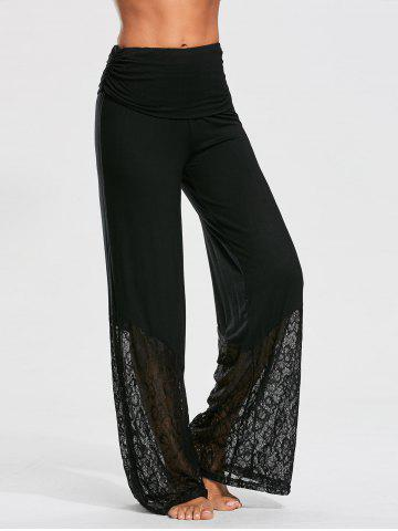 Chic Lace and Flounce Insert Palazzo Pants BLACK S