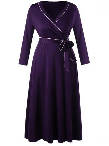 Chic Plus Size Long Sleeve Formal Wrap Dress - XL CONCORD Mobile