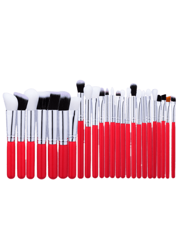 Online 25Pcs Round Handle Makeup Brushes Set - RED  Mobile