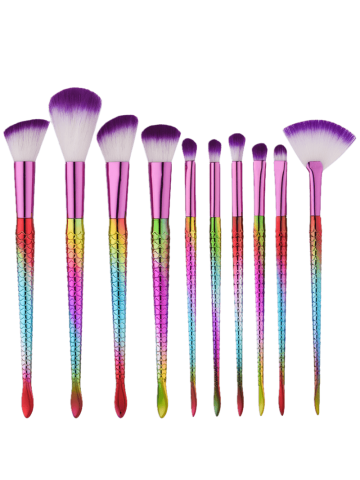 Chic 10Pcs Ombre Mermaid Multipurpose Makeup Brushes Set - MULTI  Mobile