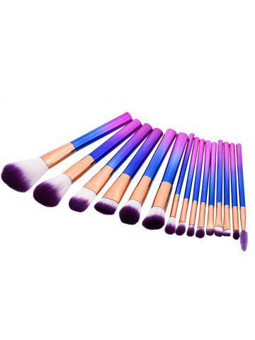 Ensemble de brosse à maquillage à poils brillants 15Pcs Pourpre