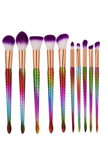 Ensemble de brosse à maquillage multijoueur de 10 pcs Glitter Mermaid Pourpre