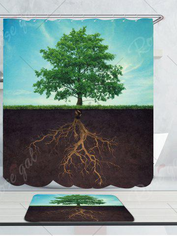 Sale Waterproof Life Tree Shower Curtain and Rug - W59 INCH * L71 INCH COLORMIX Mobile