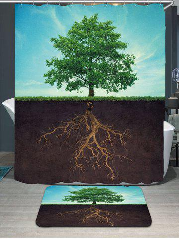 Sale Waterproof Life Tree Shower Curtain and Rug - W79 INCH * L71 INCH COLORMIX Mobile