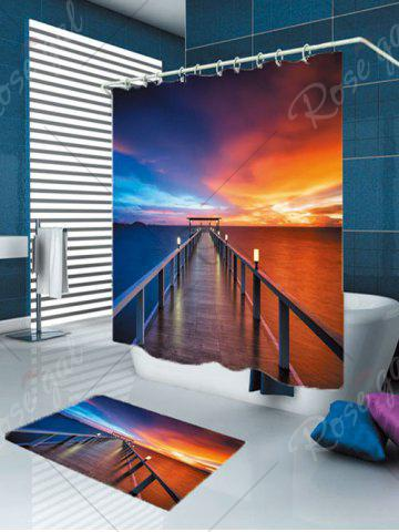 Trendy Waterproof Dusk Bridge Printed Shower Curtain and Rug - W59 INCH * L71 INCH COLORFUL Mobile