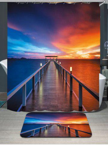 Online Waterproof Dusk Bridge Printed Shower Curtain and Rug - W59 INCH * L71 INCH COLORFUL Mobile