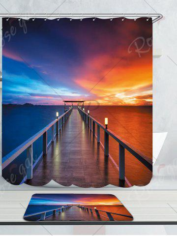 Unique Waterproof Dusk Bridge Printed Shower Curtain and Rug - W71 INCH * L71 INCH COLORFUL Mobile