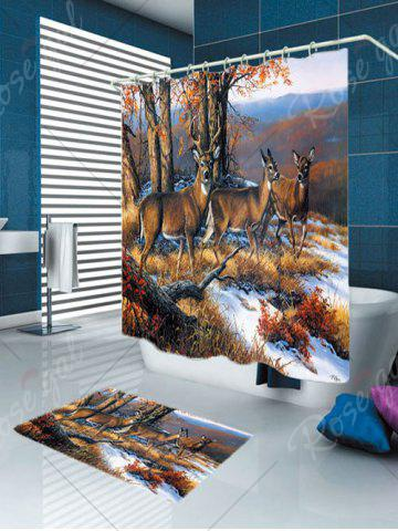 Fashion Waterproof Snowfield Deer Printed Shower Curtain and Rug - W59 INCH * L71 INCH BROWN Mobile