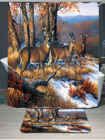 Fashion Waterproof Snowfield Deer Printed Shower Curtain and Rug - W71 INCH * L71 INCH BROWN Mobile