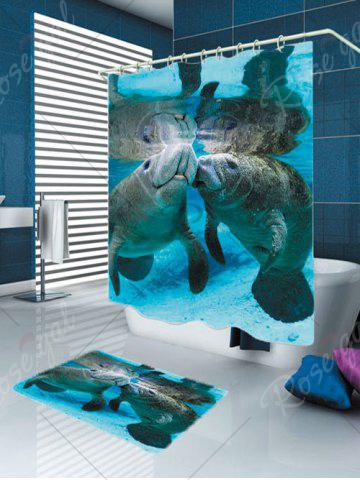 Store Waterproof Ocean Manatee Printed Shower Curtain and Rug - W59 INCH * L71 INCH BLUE Mobile