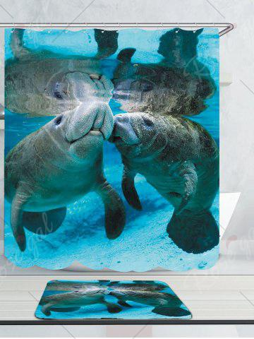 Fashion Waterproof Ocean Manatee Printed Shower Curtain and Rug - W71 INCH * L71 INCH BLUE Mobile