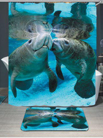 Fashion Waterproof Ocean Manatee Printed Shower Curtain and Rug - W79 INCH * L71 INCH BLUE Mobile