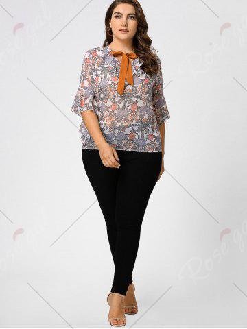 Discount Plus Size Floral Ruffle Pussy Bow Chiffon Top - 2XL LIGHT PINK Mobile