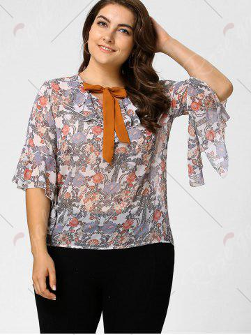 Shop Plus Size Floral Ruffle Pussy Bow Chiffon Top - 2XL LIGHT PINK Mobile