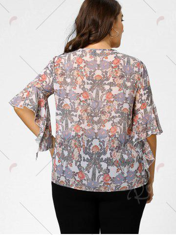 Chic Plus Size Floral Ruffle Pussy Bow Chiffon Top - 2XL LIGHT PINK Mobile