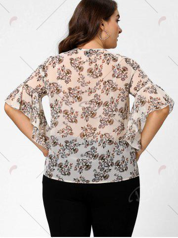 Fancy Plus Size Floral Ruffle Pussy Bow Chiffon Top - 4XL OFF-WHITE Mobile