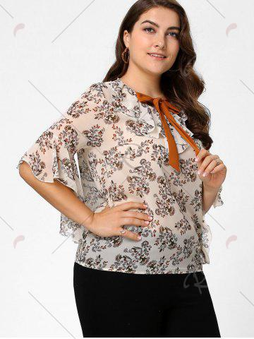 Discount Plus Size Floral Ruffle Pussy Bow Chiffon Top - 4XL OFF-WHITE Mobile