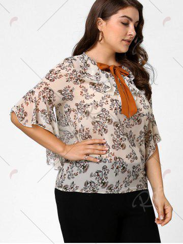 Affordable Plus Size Floral Ruffle Pussy Bow Chiffon Top - 4XL OFF-WHITE Mobile