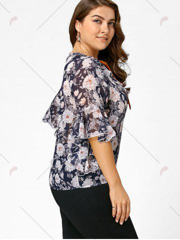 Cheap Plus Size Floral Ruffle Pussy Bow Chiffon Top - 4XL CADETBLUE Mobile