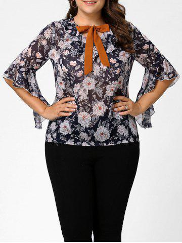 Fancy Plus Size Floral Ruffle Pussy Bow Chiffon Top - 4XL CADETBLUE Mobile