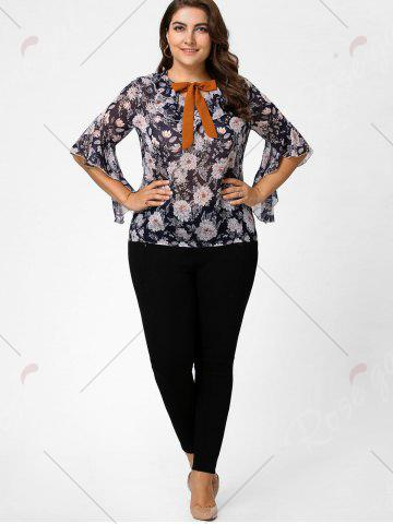 Online Plus Size Floral Ruffle Pussy Bow Chiffon Top - 4XL CADETBLUE Mobile