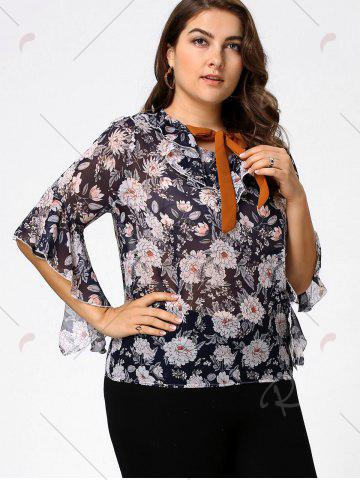 Store Plus Size Floral Ruffle Pussy Bow Chiffon Top - 4XL CADETBLUE Mobile