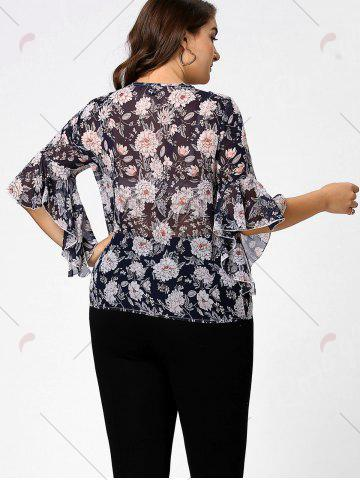 Outfit Plus Size Floral Ruffle Pussy Bow Chiffon Top - 4XL CADETBLUE Mobile